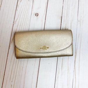 COACH Metallic Gold Large Foldover Wallet